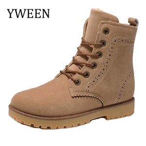 YWEEN Fashion High-top Man Ankle Boots Plush Warm Round Toe Men's Snow Outdoor Boots Size 35-44