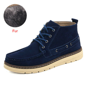 DEKABR 2018 Winter Snow Men Boots Handmade Suede Working Boots Men Trend Green Blue Ankle Boots Lace-Up Autumn Winter Men Shoes