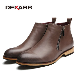 DEKABR 2018 Men Boots Comfortable Black Winter Warm Waterproof Fashion Ankle Boots Casual Men pu Leather Snow Boots Winter Shoes