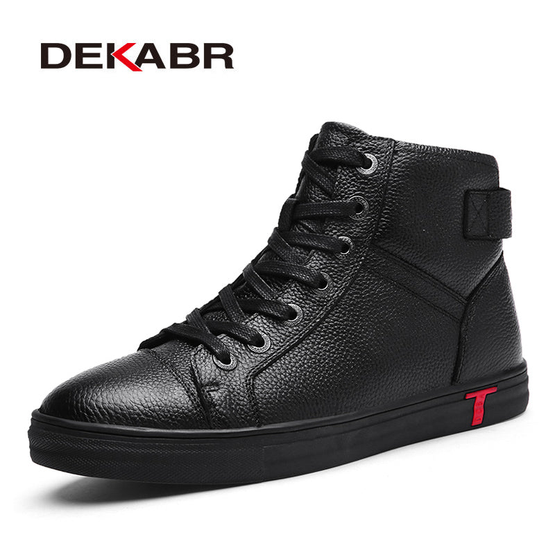 DEKABR Genuine Leather Men Waterproof  Boots Men Casual Shoes Fashion Ankle Boots For Men High Top Winter Men Boots Size 38~48