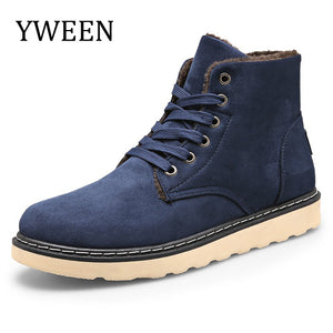 YWEEN  New Winter men's Boots Men Warm Plush Cotton ankle Boot Round Toe Lace-up man Shoes