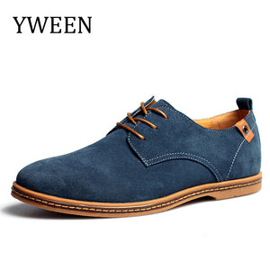 YWEEN Top Fashion Casual Shoes For Men Autumn Winter Nubuck Leather Flock Plush Warm Promotion Oxford Derby Shoes Large size