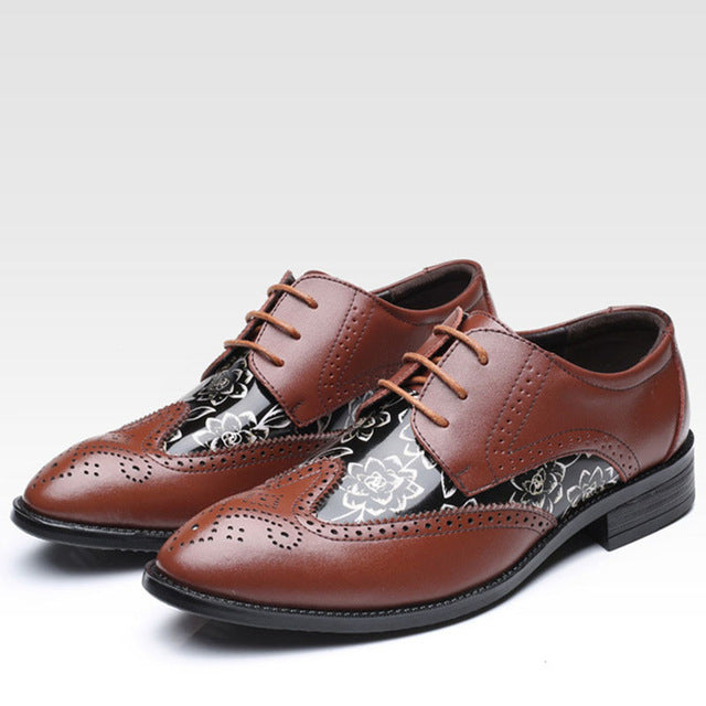 New arrive Fashion Mens Dress Office Lace-Up Leather Shoes Men's Casual Party Driving Oxfords Man Vintage Carved Brogue Flats