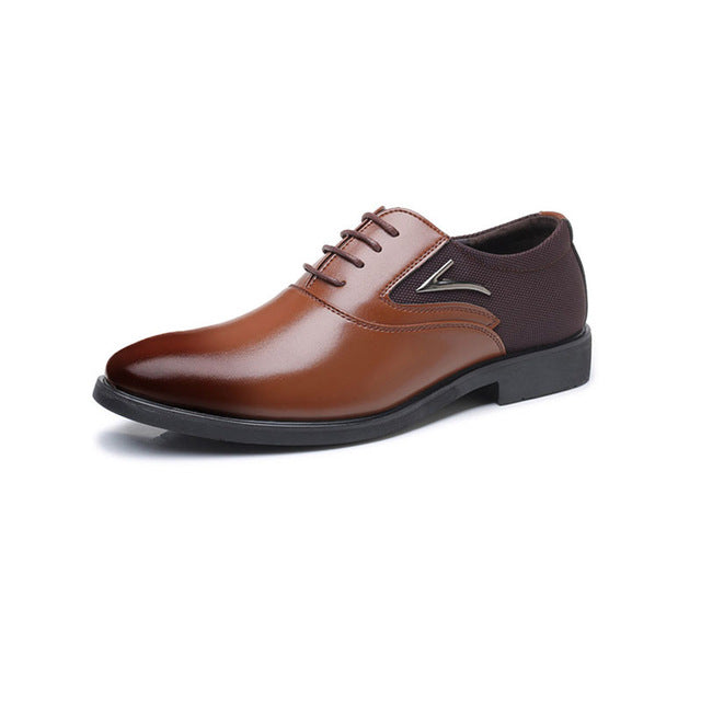 New arrive Spring Big Size Men Casual Dress Shoes British Style Lace-Up Canvas and Leather Stitching Pointed Toe Shoes Men Oxfor