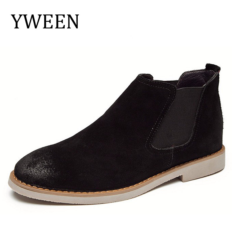 YWEEN 2018 Autumn Winter Men Chelsea Boots Casual Slip-on High Europe Style Trend Leather Boot Man