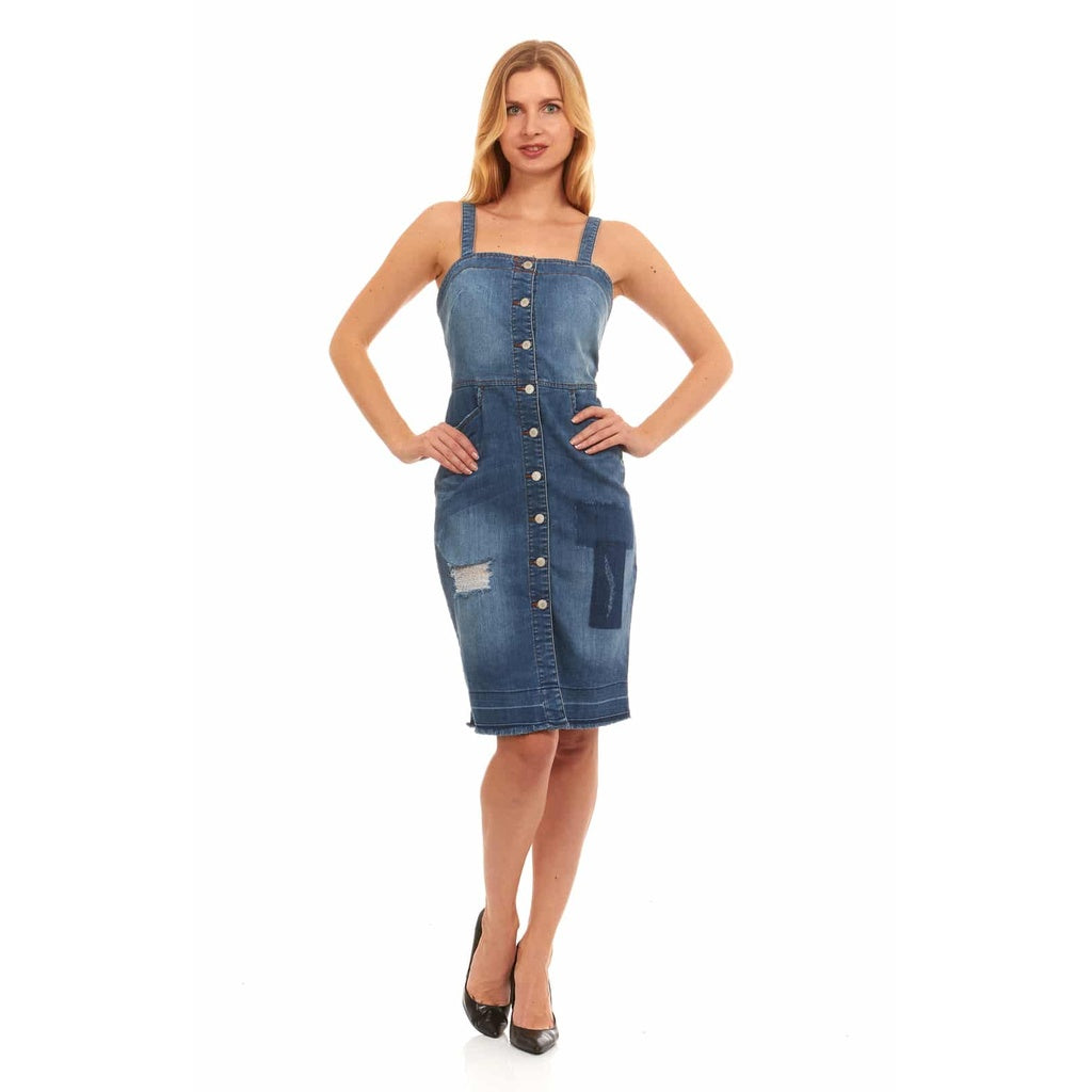 Red Jeans Women's Shoulder Strap Denim Dress by Red Jeans