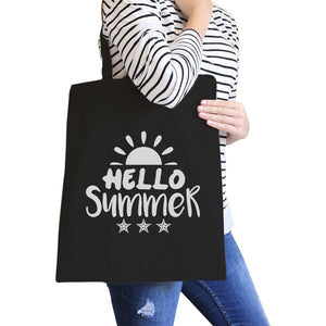 Hello Summer Sun Black Canvas Bags