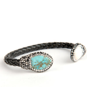 Isis Leather Turquoise and Pearl Bracelet