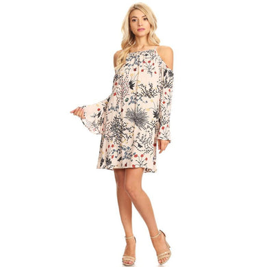 1026-Floral off shoulder dress