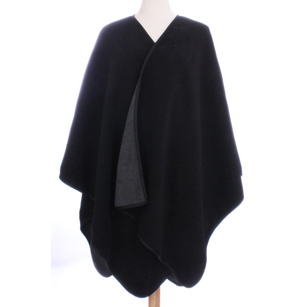 Womens Reversible Fleece Poncho Black / Charcoal Gray