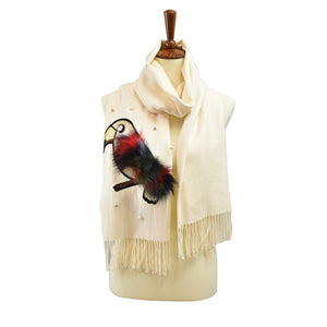 Cashmere Feel Pearl Embellished Tucan Applique with Faux Fur Scarf