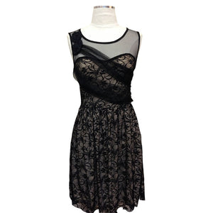 81292-Black/Beige lace dress with mesh details