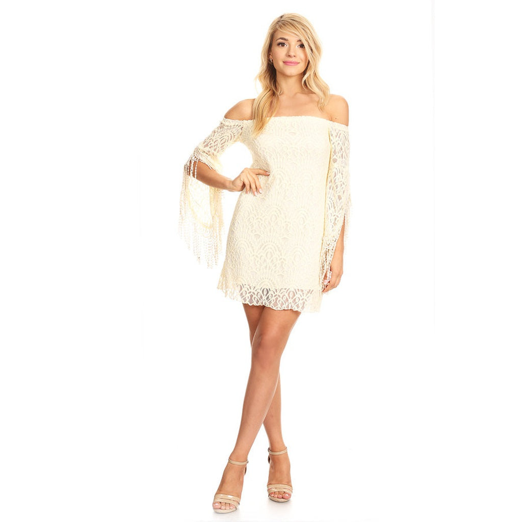 81414-Beige feather sleeves off shoulder lace dress