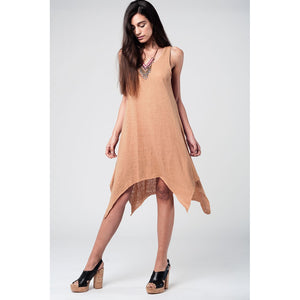 Camel Dress With Dipped Hem