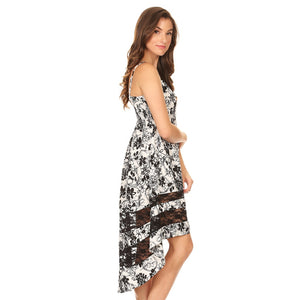 81355-Black & White Floral High Low Dress