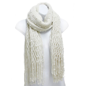Off White Winter Knit Fish Net Weave Oblong Scarf with Fringe