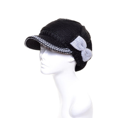 Womens Wool Beanie Visor with Bow