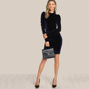 Women's Navy Velvet Long Sleeve Knee Length Elegant Party Dresses
