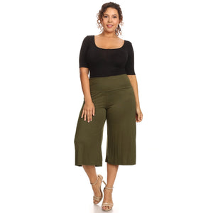 Plus Size Women's Gaucho Pants Knit Capri Culottes Lose Fit 1XL, 2XL, 3XL