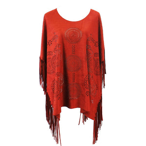 Faux Suede Poncho