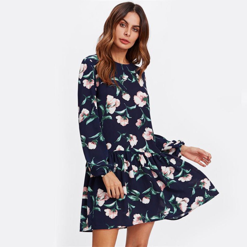 Women's Navy Long Sleeve Flower Print Drop Waist Dress
