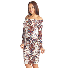 Sharon's Outlet Long Sleeve Off Shoulder Dress: PRINTED & Solid Colors To Choose