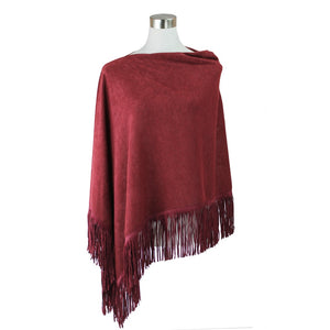 Solid Color Faux Suede Fringe Poncho