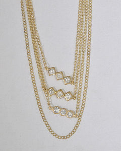 Multi-Layer Metal Embellished Necklace