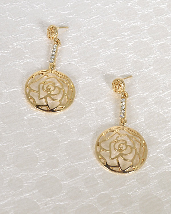 Floral Pattern Stone Studded Metallic Drop Earrings