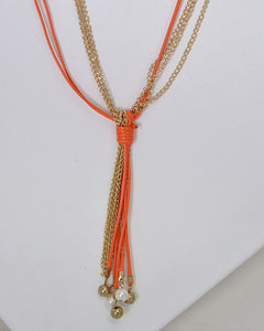Faux Leather Link Chain Beaded Tassel Necklace