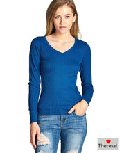 V neckline ribbed top