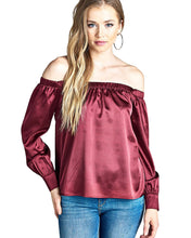 Elasticized off-the-shoulder satin top