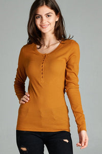 Long sleeves round neck henley top
