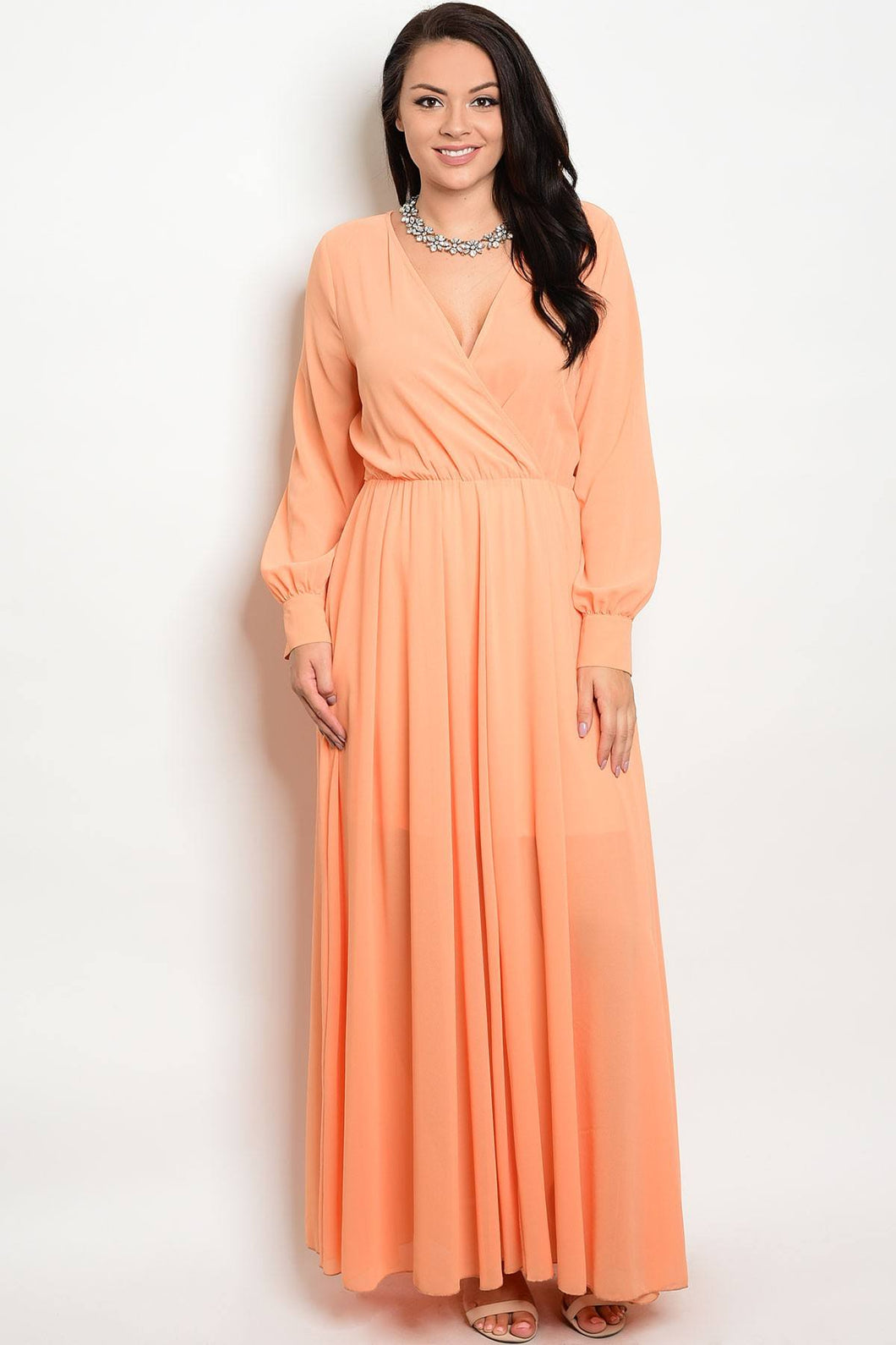 Plus size V-neckline chiffon maxi dress