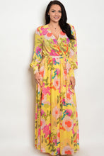 Plus size featuring a surplice front chiffon maxi dress