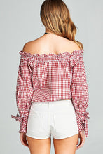 Ladies fashion smocked neckline off-the-shoulder top
