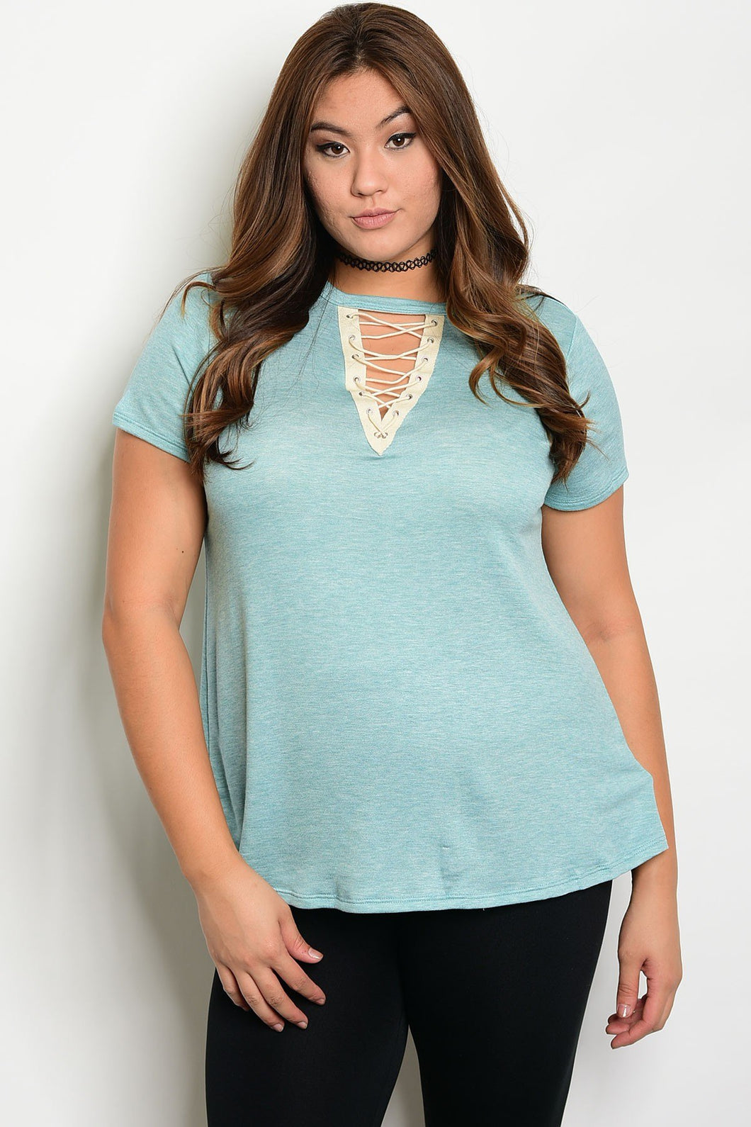 Plus size fashion lace up detail relaxed fit top