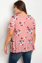 Plus size tassel trim floral print top