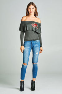 Ladies off-the-shoulder rose embroidery top