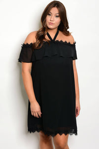 Plus size lace details off the shoulder dress