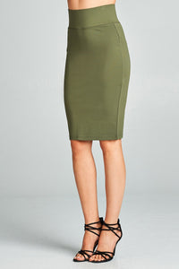 Ladies fashion knee-length elasticized waistband knit pencil skirt