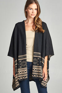 Ladies abstract print short dolman sleeves kimono