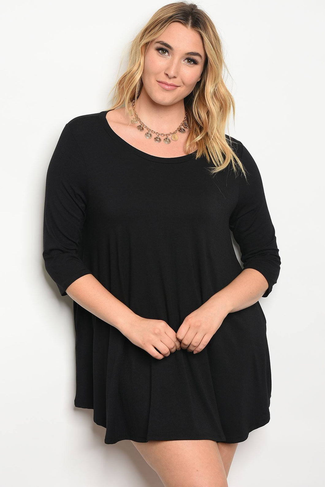 Plus size scoop neckline jersey knit skater dress