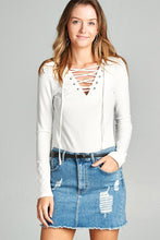 Ladies Long Sleeve Lace-Up Rayon Spandex Jersey Top