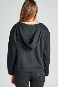 Ladies fashion dropped long sleeve grommet distressed cotton polyester slub french terry hoodie top