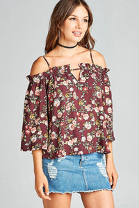 Ladies fashion bell sleeve open shoulder floral printed wool dobby top