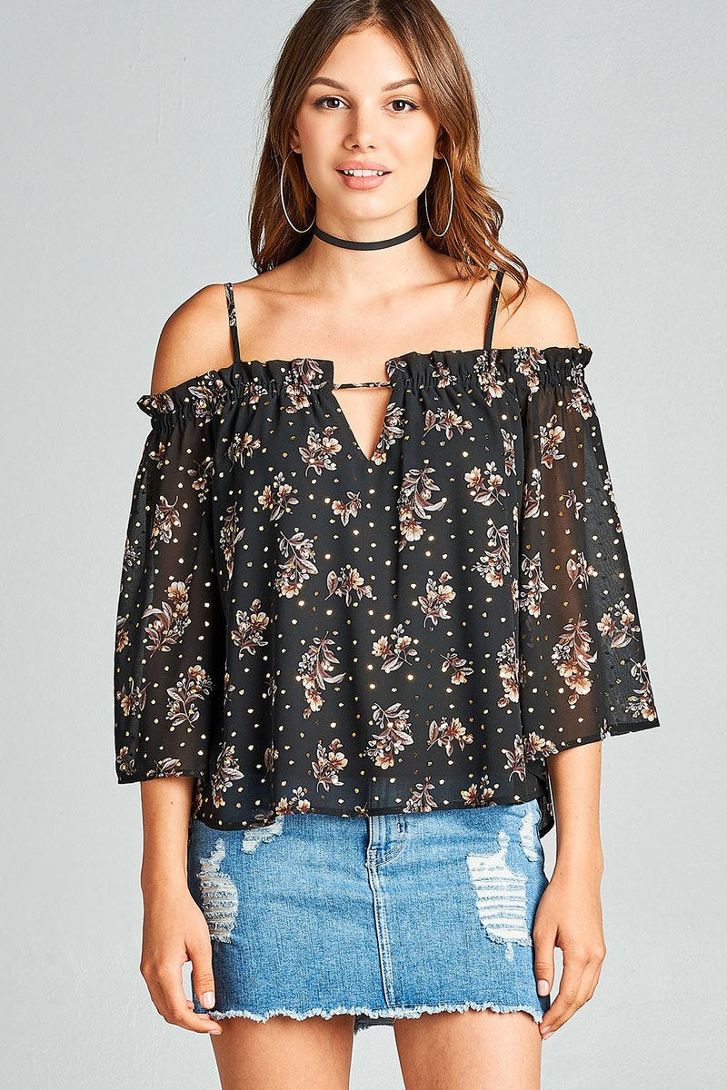 Ladies fashion bell sleeve open shoulder floral with gold foil printed crepe chiffon top