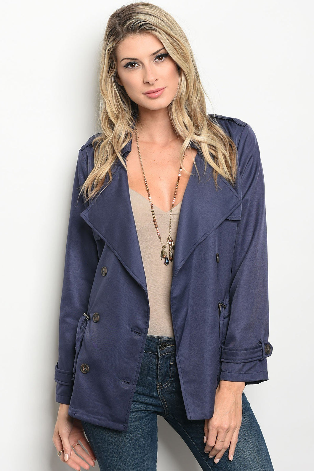 Ladies fashion long sleeve double breasted button up jacket with a collard neckline