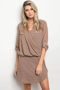 Ladies fashion 3/4 sleeve acrylic blend shift dress with a draped detailed top and a v neckline