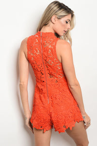 Ladies fashion sleeveless fitted lace romper with a mock neckline